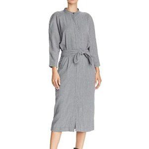 JOIE Ceron Houndstooth Cotton Belted Midi Dress